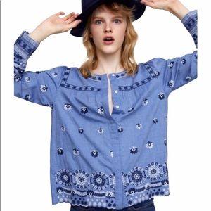 Zara Woman Chambray Embroidered Blouse